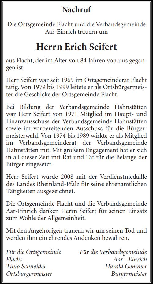Nachruf Erich Seifert